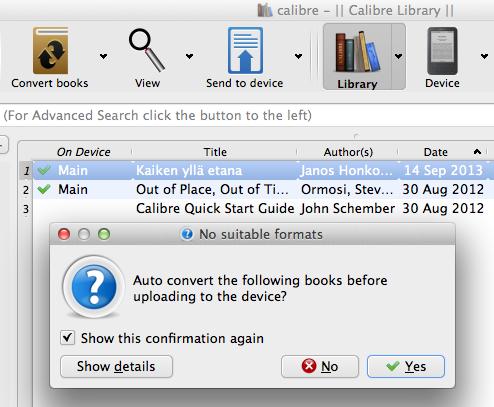Send to device -napilla voit lähettää kirjan koneeseen kytketylle lukulaitteelle.
